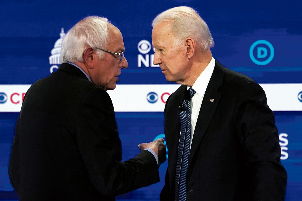 Wer hat bessere Chancen gegen Trump? Bernie Sanders und Joe Biden debattierten am 25. Februar im Gaillard Center in Charleston, South Carolina